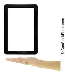 tablette, écran, isolé, main, présentation, femme, vide
