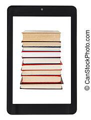 tablette, écran, isolé, pc, livres, pile