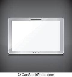 tablette, écran, isolé, sombre, réaliste, fond, vide