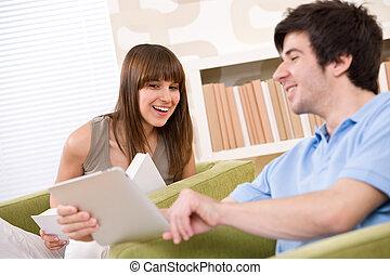 tablette, écran, -, jeune, informatique, étudiant, toucher, homme