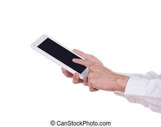 tablette, écran, main, informatique, vide, petit