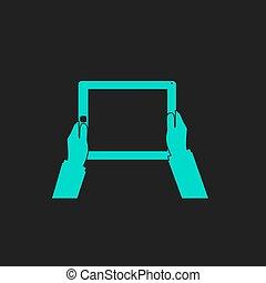 tablette, écran, mains, informatique, tenue, vide
