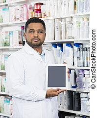 tablette, écran, numérique, tenue, vide, chimiste