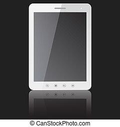 tablette, écran, ordinateur pc, vide, blanc