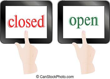 tablette, écran, pc, thème, doigt, fermé, mains, toucher, ouvert