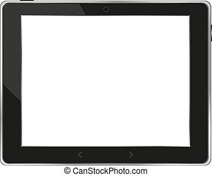 tablette, écran, pc, vecteur, noir, blanc