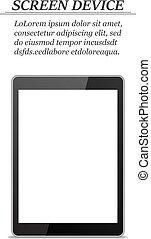 tablette, écran, réaliste, fond, vide, blanc