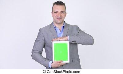 tablette, écran, vert, confection, homme affaires, présentation