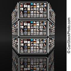 tablette, écrans, à, beaucoup, icônes, sur, noir