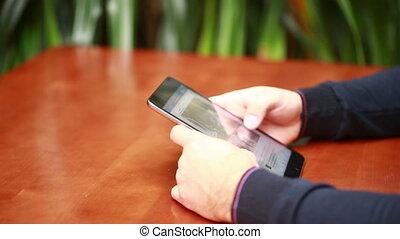 tablette, écrire, pc, quelque chose, utilisation, homme affaires