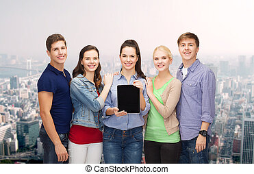 tablette, étudiants, projection, pc, écran blanc