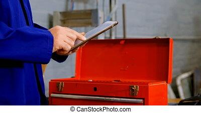 tablette, 4k, garage, numérique, mécanicien, utilisation