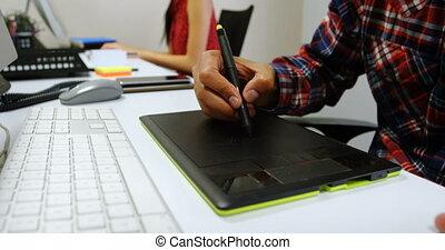 tablette, 4k, graphiste, bureau, utilisation