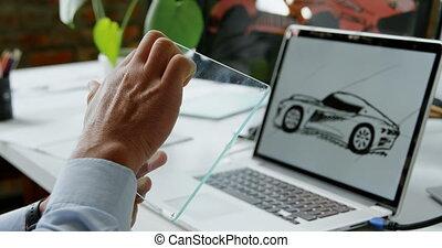tablette, 4k, numérique, concepteur, voiture, bureau, verre, utilisation