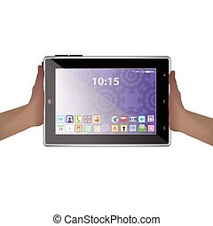 tablette, abbildung, edv, halten hände, icon.