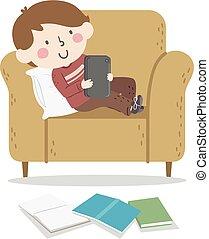 tablette, abbildung, junge, procrastinating, studieren, kind