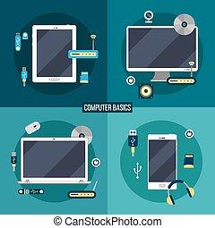 tablette, accessoires, ordinateur portable, basics:, informatique, informatique, téléphone, électronique, intelligent
