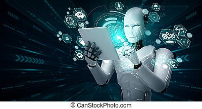 tablette, ai, humanoid, begriff, denken, edv, gehirn, roboter, gebrauchend