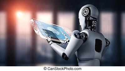 tablette, analytic, humanoid, edv, roboter, daten, groß, gebrauchend