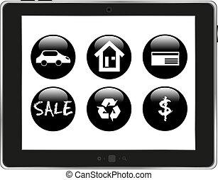 tablette, application, icônes, isolé, pc, fond, blanc