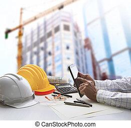 tablette, architecte, fonctionnement, informatique, table, travail, main