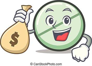 tablette, argent, caractère, drogue, sac, dessin animé