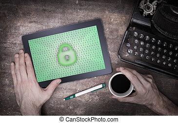 tablette, auf, a, buero, begriff, von, datenschutz