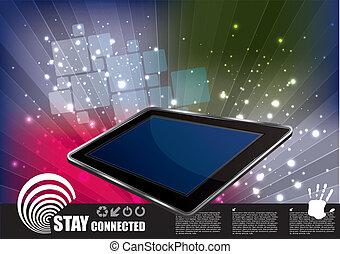 tablette, auf, abstrakt, hintergrund