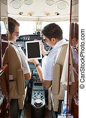 tablette, ausstellung, kopilot, cockpit, digital, pilot