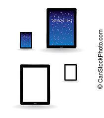 tablette, beweglich, abbildung, -, telefon, edv