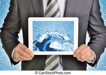 tablette, bild, laptops, pc., hände, gebrauchend, schirm, erde, mann