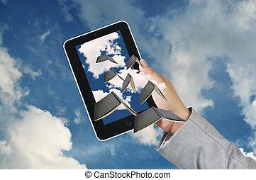 tablette, business, écran, main, toucher, prise, homme
