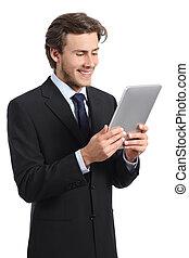 tablette, business, jeune homme, lecteur, lecture, heureux