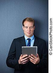 tablette, business, pc, tenue, beau, homme
