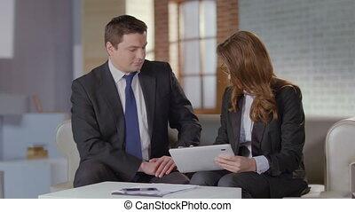 tablette, business, ventes, conversation, directeur, client, présentation