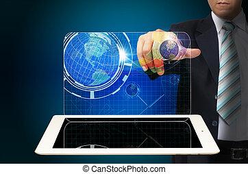 tablette, business, virtuel, main, toucher, informatique, interface, homme