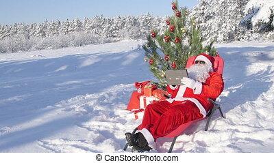 tablette, cadeau, claus, neige, sac, informatique, forêt, santa, utilisation, couvert, hiver
