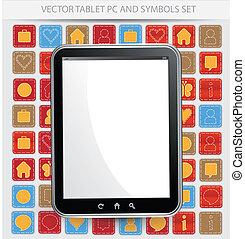 tablette, cadre, pc, vecteur, noir, blanc écran