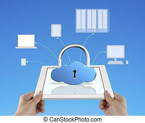 tablette, calculer, concept, serrure, sécurité, nuage