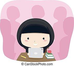 tablette, classe, qatar, girl, gosse, illustration