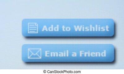 tablette, cliqueter, souhait, écran, liste, ajouter
