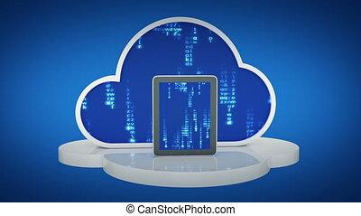 tablette, computer, mit, wolke, wolke