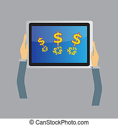 tablette, concept, business, écran
