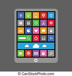 tablette, couleur, gadget, moderne, carreau, interface, résumé