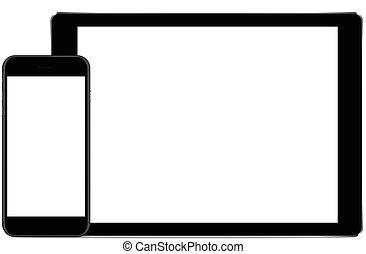 tablette, couleur, haut, téléphone, vecteur, fond, noir, blanc, railler