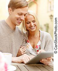 tablette, couple, ordinateur pc, sourire, café