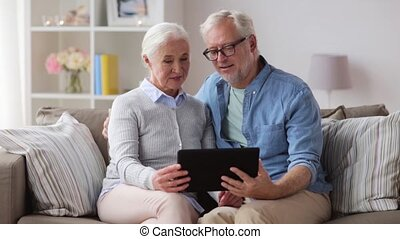 tablette, couple, pc, maison, personne agee, heureux