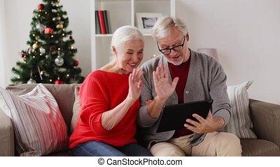 tablette, couple, pc, personne agee, noël, heureux