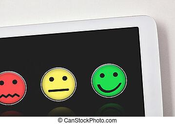 tablette, détail, satisfaction, niveaux, représentation, table, blanc