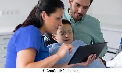 tablette, dentaire, clinique, pc, dentiste, projection,...